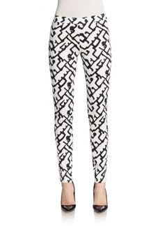 French Connection Downtown Abstract Print Slim Ankle Pants