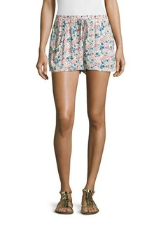 French Connection Drawstring-Waist Floral-Print Shorts