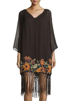 French Connection Floral-Embroidered Fringe-Hem Dress