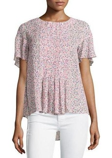 French Connection Floral-Print Flutter-Sleeve Top