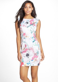 French Connection 'Floral Reef' Print Stretch Cotton Sheath Dress
