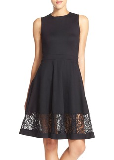 French Connection Lace Panel Fit & Flare Dress