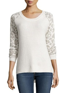 French Connection Leopard-Print Waffle-Knit Raglan Sweater