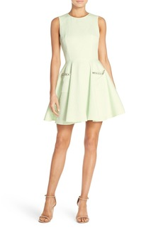 French Connection 'Lickety Split' Embellished Pocket Fit & Flare Dress