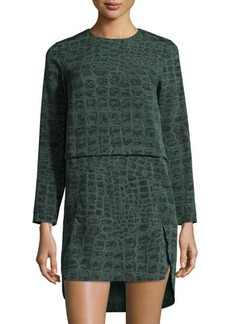 French Connection Long-Sleeve Georgette Dress w/Alligator Print