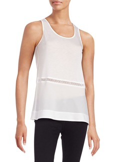 FRENCH CONNECTION Mesh-Accented Knit Tank Top