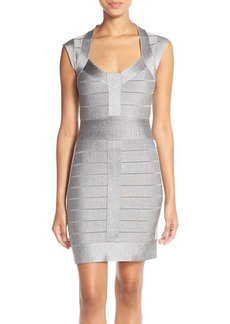 French Connection Metallic Knit Bandage Dress