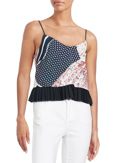 FRENCH CONNECTION Patchwork Pleated-Peplum Tank Top