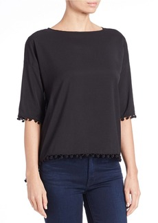 FRENCH CONNECTION Pom-Pom-Trim Woven Top