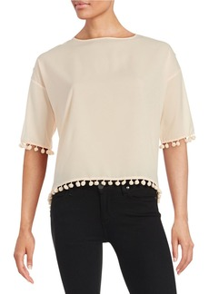 FRENCH CONNECTION Pompom-Trim Crepe Top