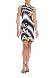 FRENCH CONNECTION Striped Floral Sheath Dress
