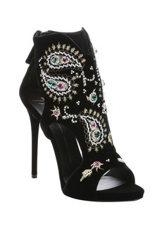 Giuseppe Zanotti black and gold embroidered velve...