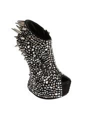 Giuseppe Zanotti black suede crystal and spike studded platform peep toe pumps