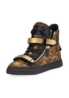 Giuseppe Zanotti Camo Calf Hair High-Top Sneaker