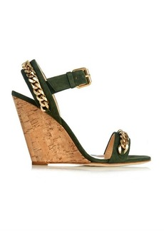 Giuseppe Zanotti Chain-embellished suede cork wedges