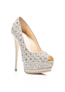 Giuseppe Zanotti Sharon Glitter Embroidered Peep Toe Platform Pumps