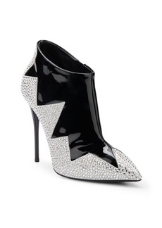 Giuseppe Zanotti Crystal Zig Zag-Patterned Patent Leather Booties