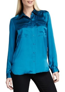 Go Silk Charmeuse Button-Front Blouse  Charmeuse Button-Front Blouse