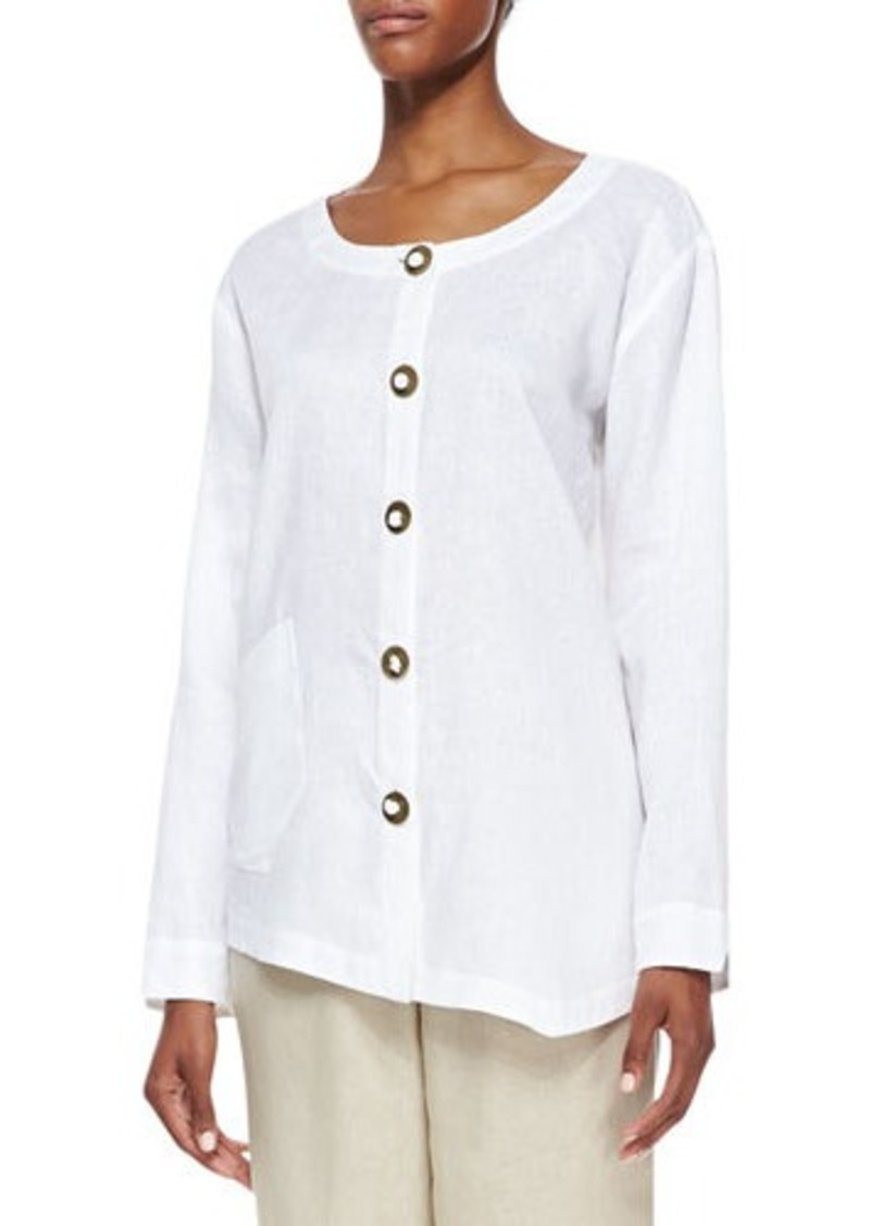 Go Silk Linen Asymmetric Shirt, Petite