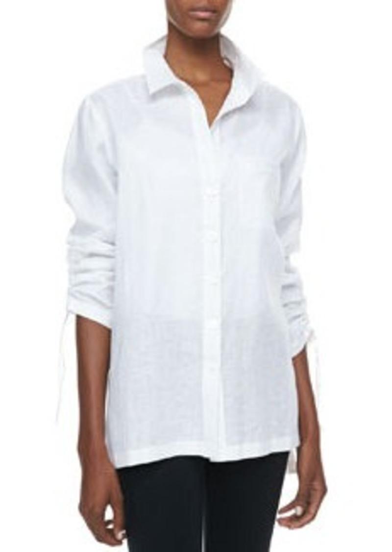 Go Silk Linen Ruched-Sleeve Big Shirt, Petite