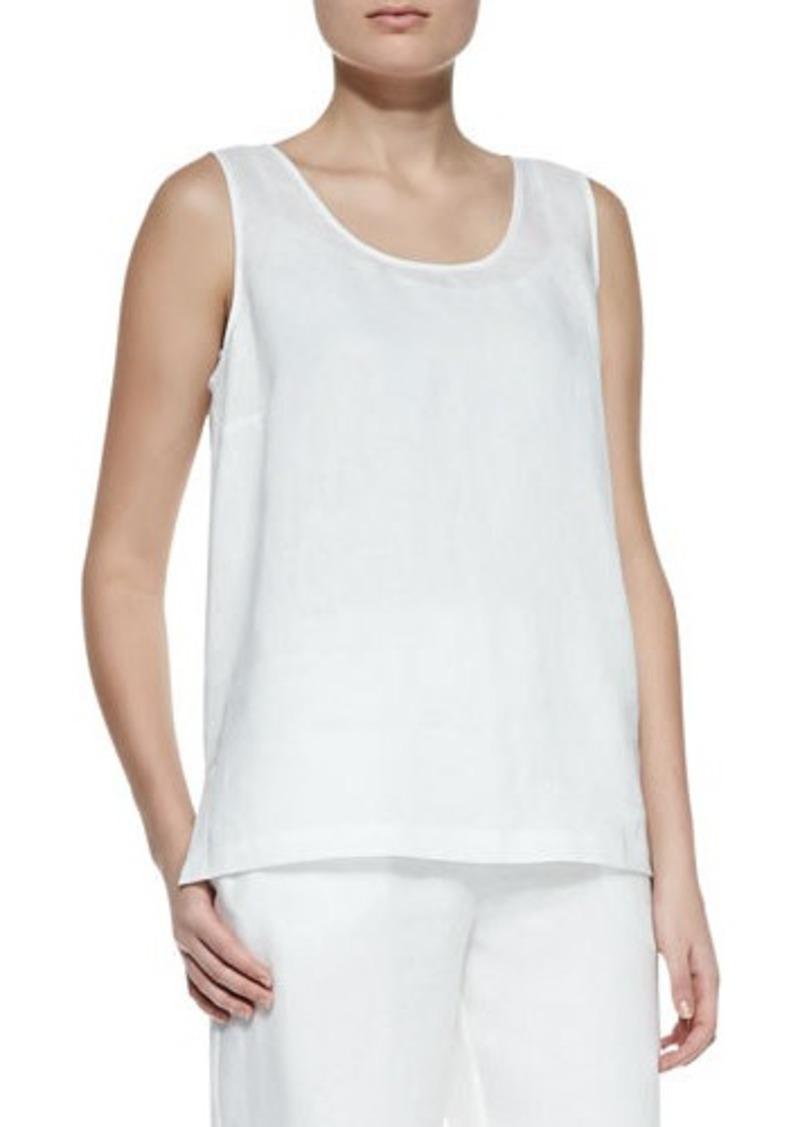 Go Silk Linen Scoop-Neck Tank, Petite