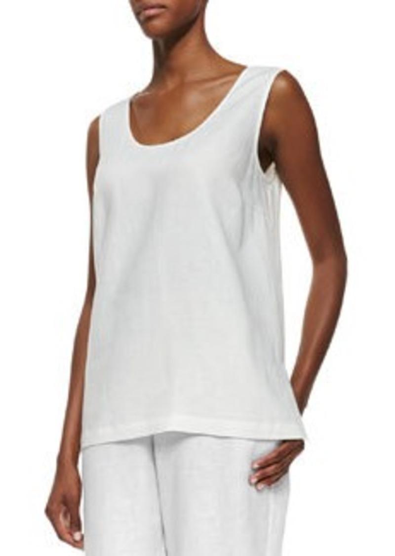Go Silk Linen Scoop-Neck Tank, White, Petite
