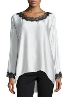 Go Silk Long-Sleeve Silk Tunic W/ Lace Trim