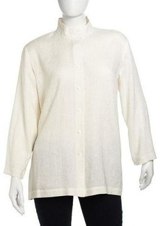 Go Silk Plus Long-Sleeve Button-Down Linen Shirt