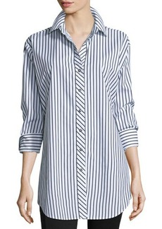 Go Silk Striped Cotton Big Shirt