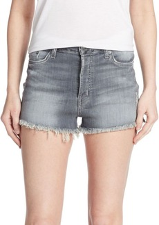 Hudson Distressed Zebra Striped Denim Cut-Off Shorts