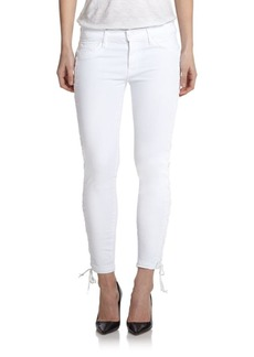 Hudson Raven Lace-Up Cropped Super Skinny Jeans