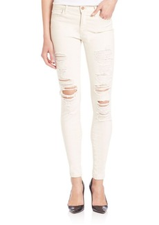 J BRAND Distressed Mid-Rise Super Skinny Jeans/Divo
