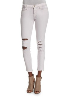 J Brand Jeans 932 Low-Rise Distressed Cropped Jeans