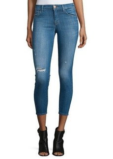 J Brand Jeans Mid-Rise Distressed Cropped Skinny Jeans