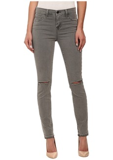 J Brand Mid Rise Destructed Skinny Jeans in Silver Fox
