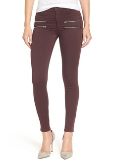 James Jeans 'Twiggy Crux' Zip Front Denim Leggings (Black Red)
