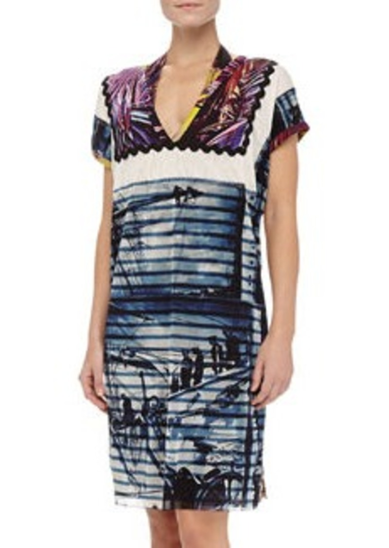 Jean Paul Gaultier Mixed-Print Short-Sleeve Coverup, 668 Marine