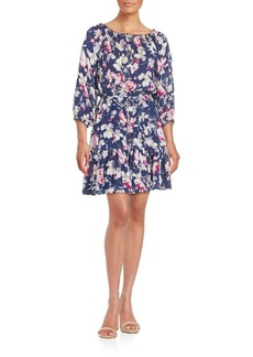 Joie Floral Printed Silk A-Line Dress