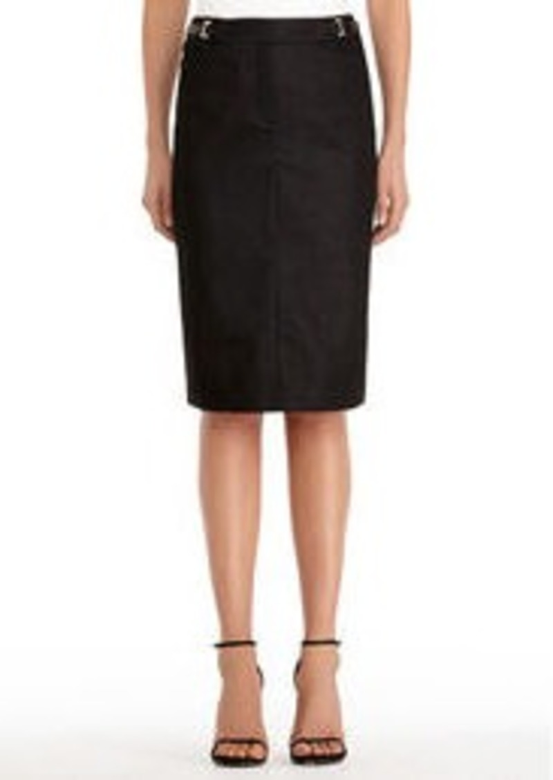 Jones New York Black Pencil Skirt with Buckles (Petite)