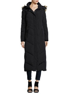 JONES NEW YORK Faux Fur Hooded Quilted Coat