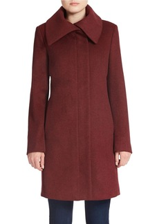 JONES NEW YORK Fold-Over Collar Wool-Blend Coat