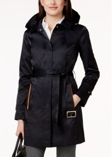 Jones New York Hooded Water-Resistant Belted Trench Coat