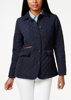 Jones New York Packable Faux-Leather-Trim Quilted Barn Jacket