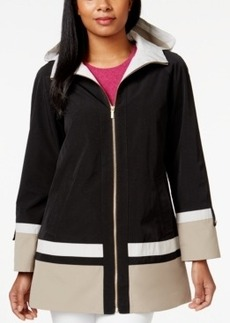 Jones New York Hooded Water-Resistant Colorblocked Coat