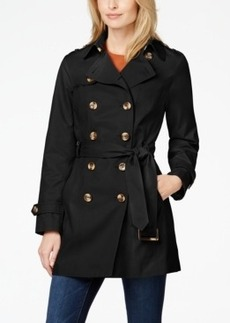 Jones New York Water-Resistant Double-Breasted Belted Trench Coat