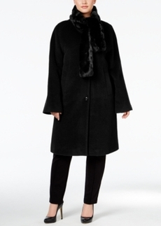 Jones New York Plus Size Walker Coat with Faux-Fur Scarf