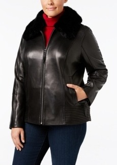 Jones New York Plus Size Faux-Fur-Trim Leather Jacket