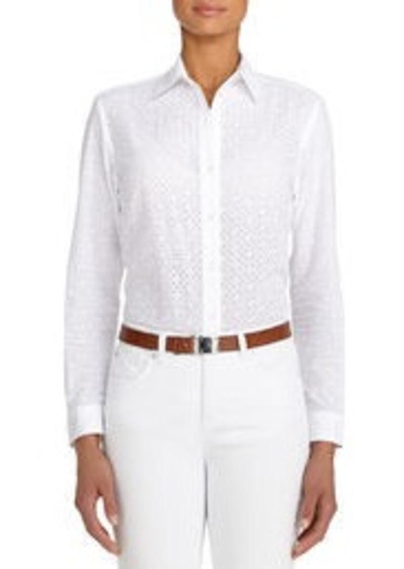Jones New York Mixed Media Cotton Shirt (Petite)