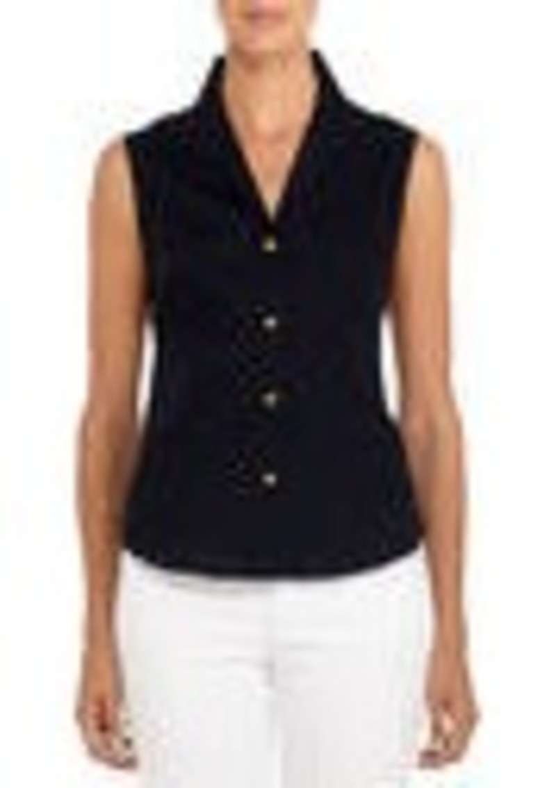 Jones New York Non-Iron Easy-Care Sleeveless Fitted Shirt