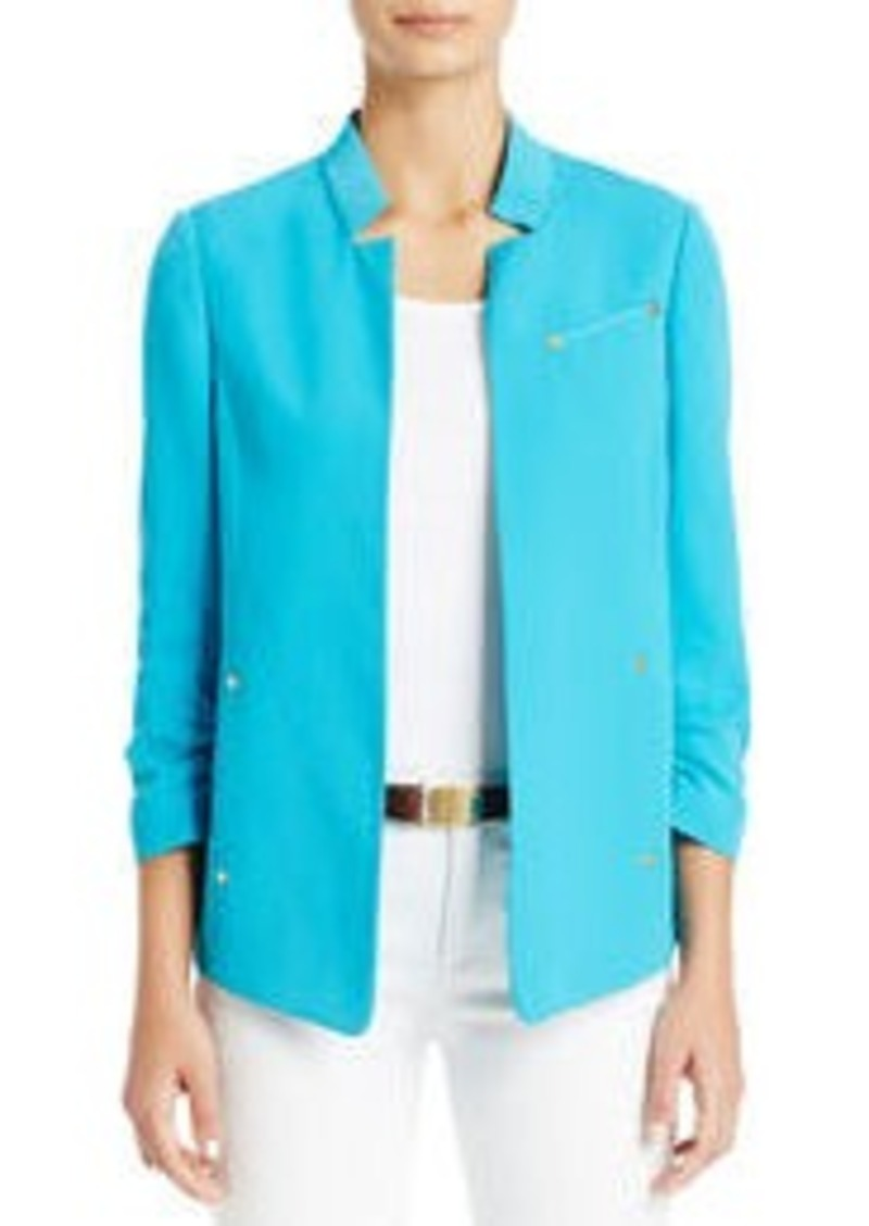 Jones New York Notched Lapel Jacket with Ruched Sleeves